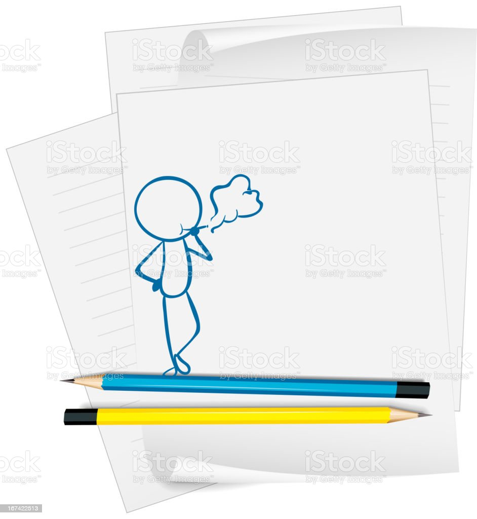 Paper with sketch of man smoking royalty-free stock vector art