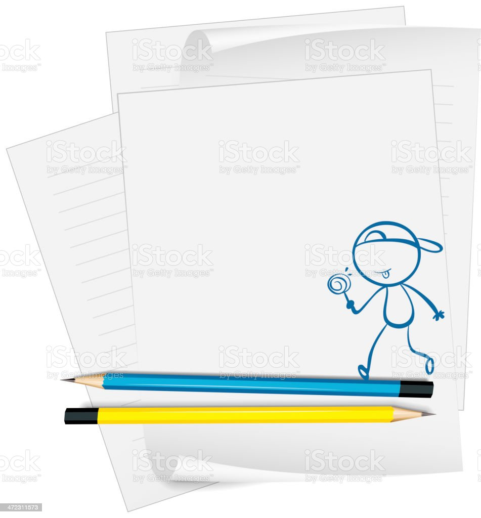 Paper with sketch of young boy eating lollipop candy royalty-free stock vector art