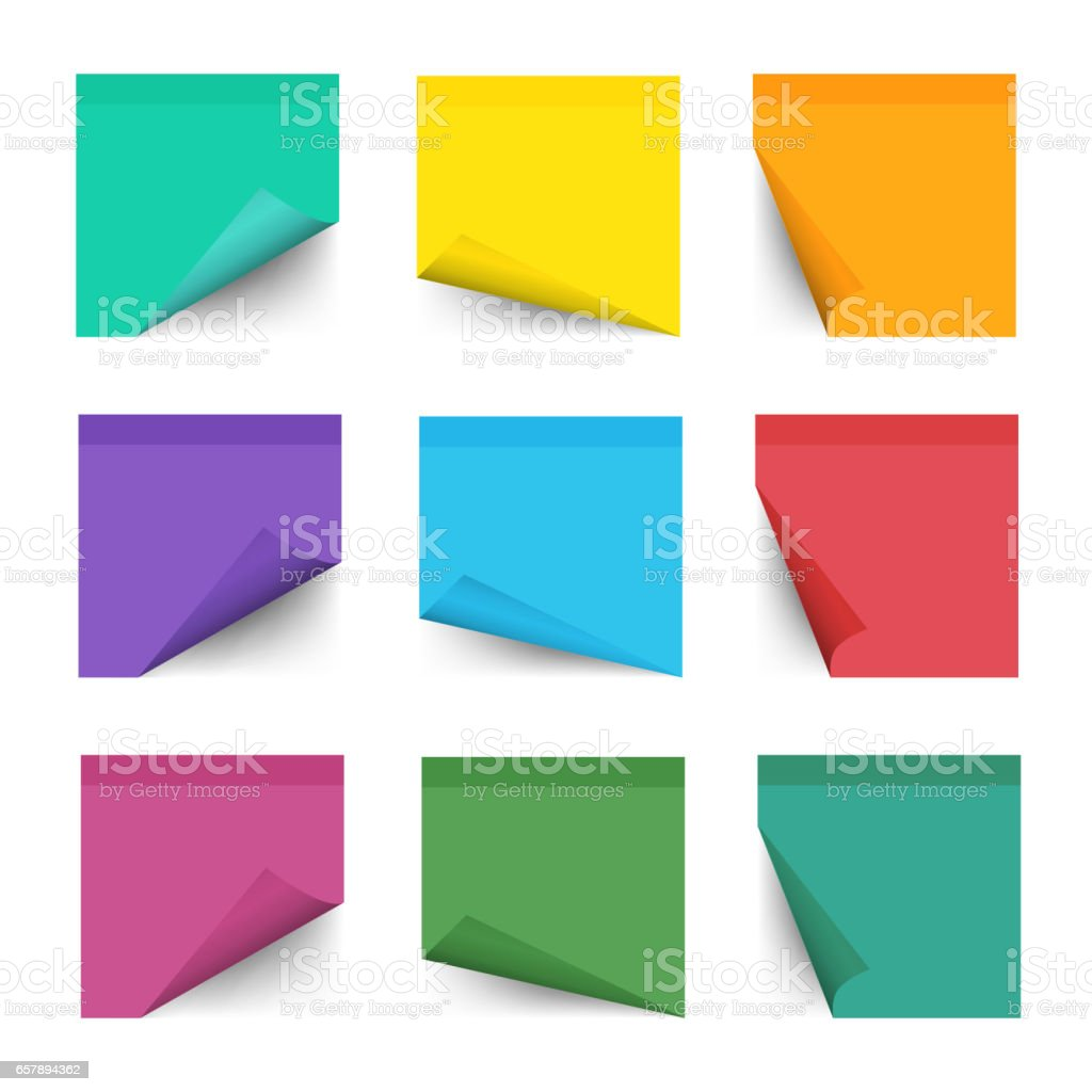 Free vector graphic sticky note note info paper free image on - Paper Work Notes Isolated On White Background Sticky Note For Noticeboard With Curled Corners Vector