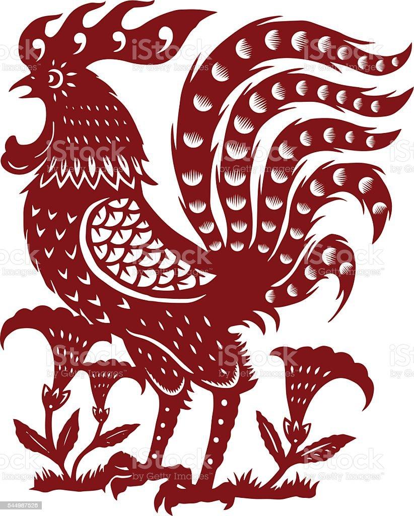 paper-cut chicken vector art illustration