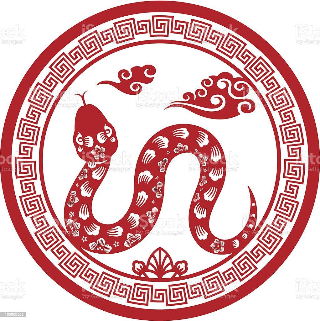 Papercut Chinese Zodiac sign - Snake royalty-free stock vector art