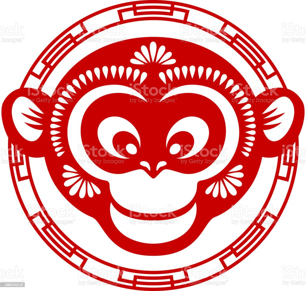 Papercut monkey head icon vector art illustration