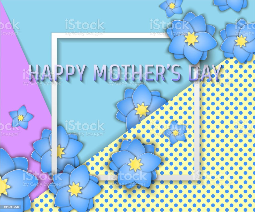 Papercut Mother's Day vector art illustration