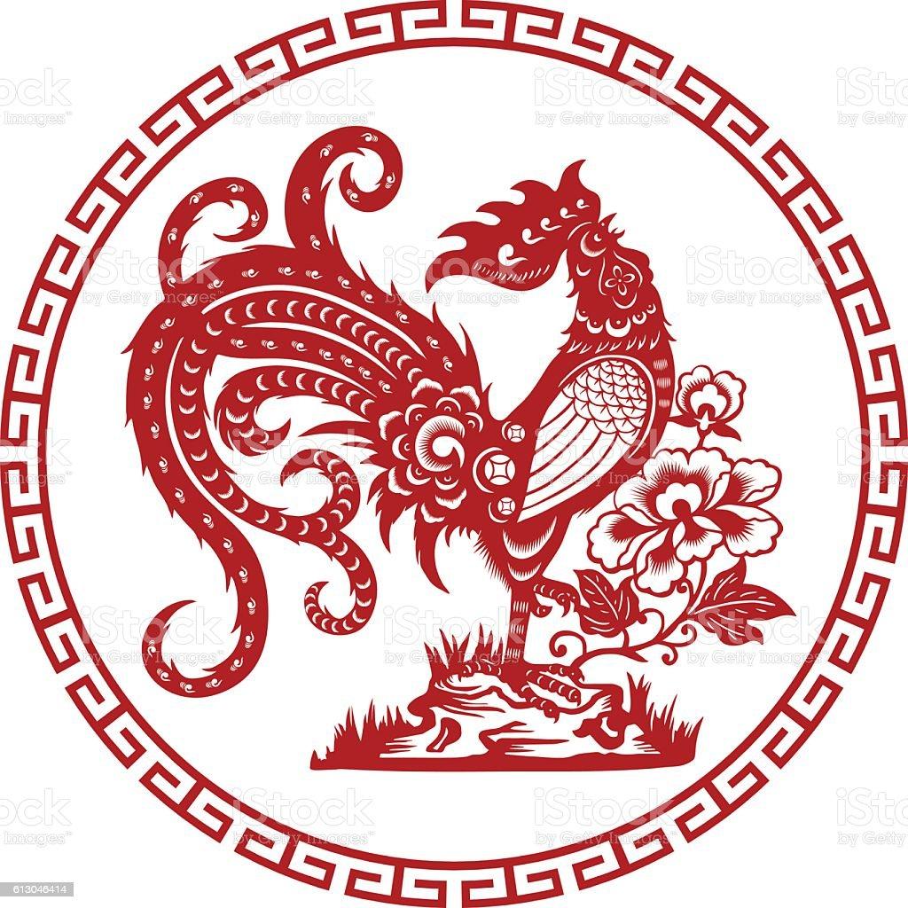 paper-cut rooster vector art illustration