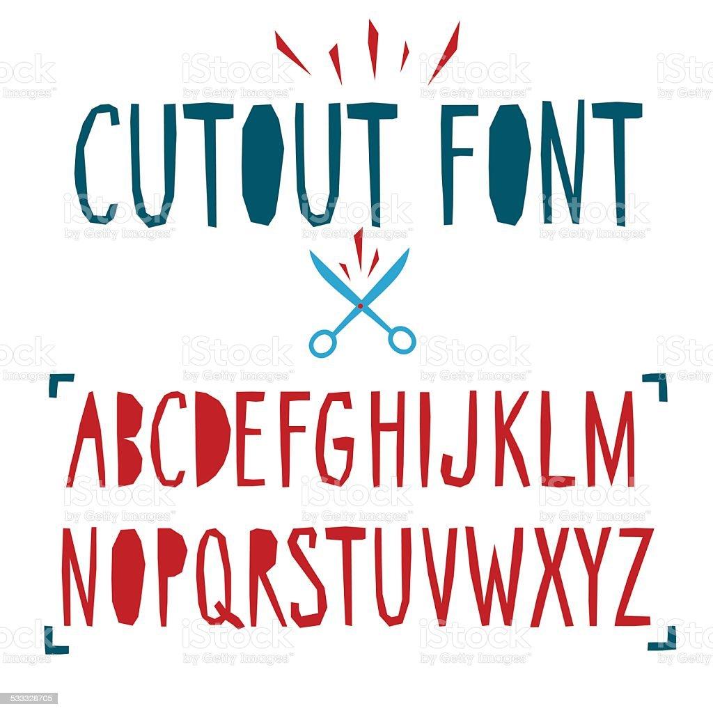 Papercut vector font vector art illustration