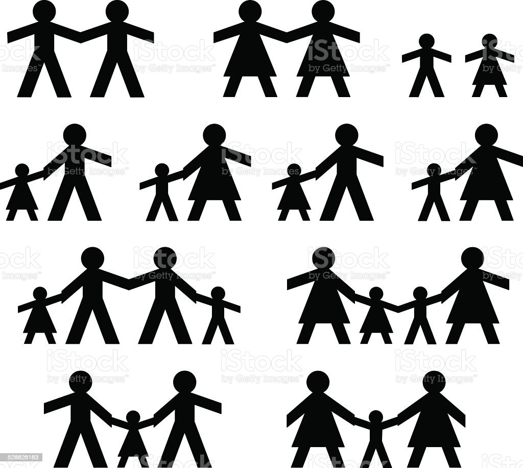 PaperDoll LGBT Family vector art illustration