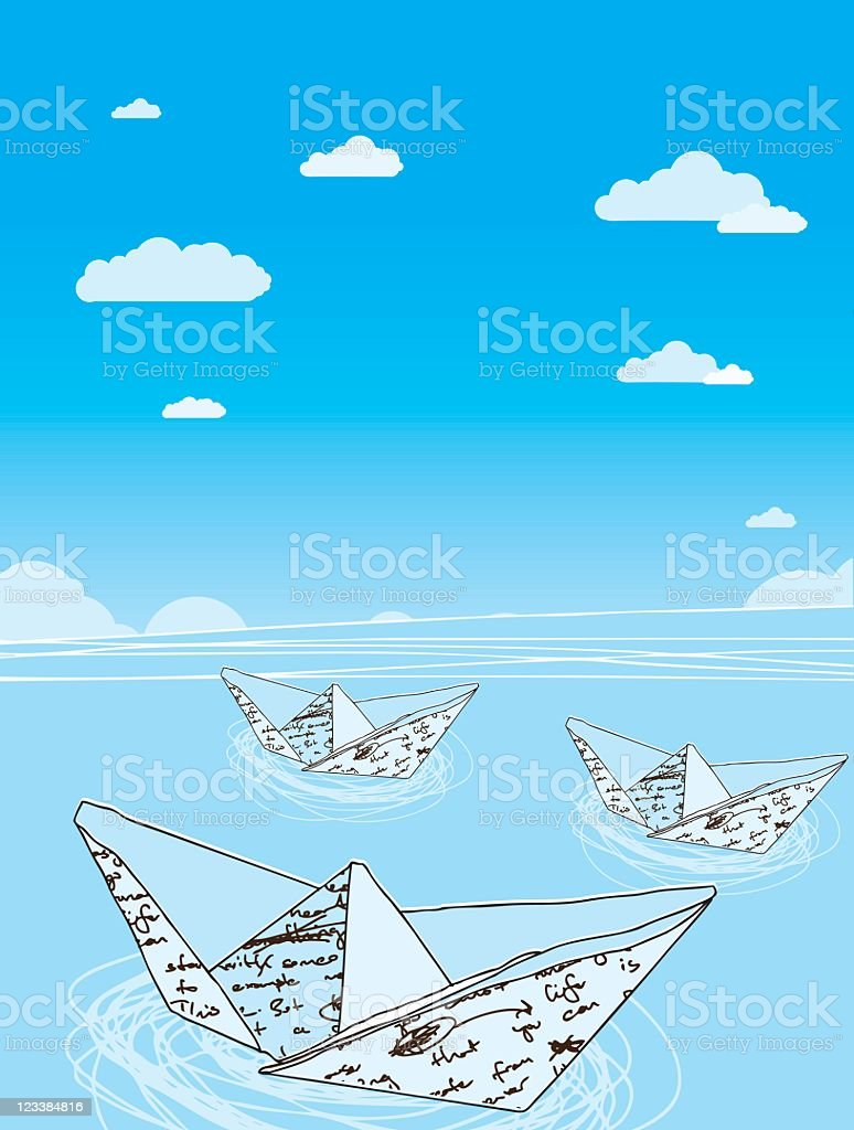 Paperships royalty-free stock vector art