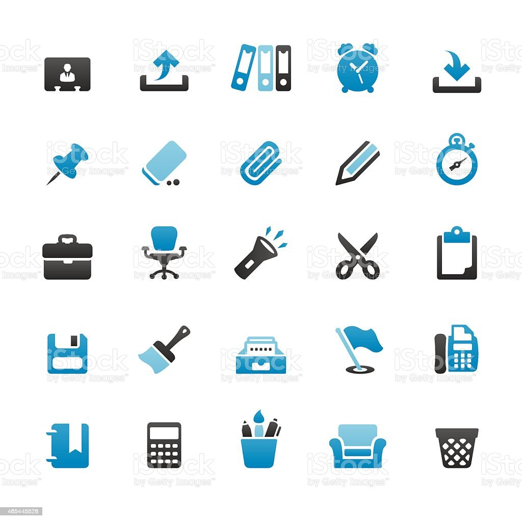 Paperwork and Office icons set vector art illustration