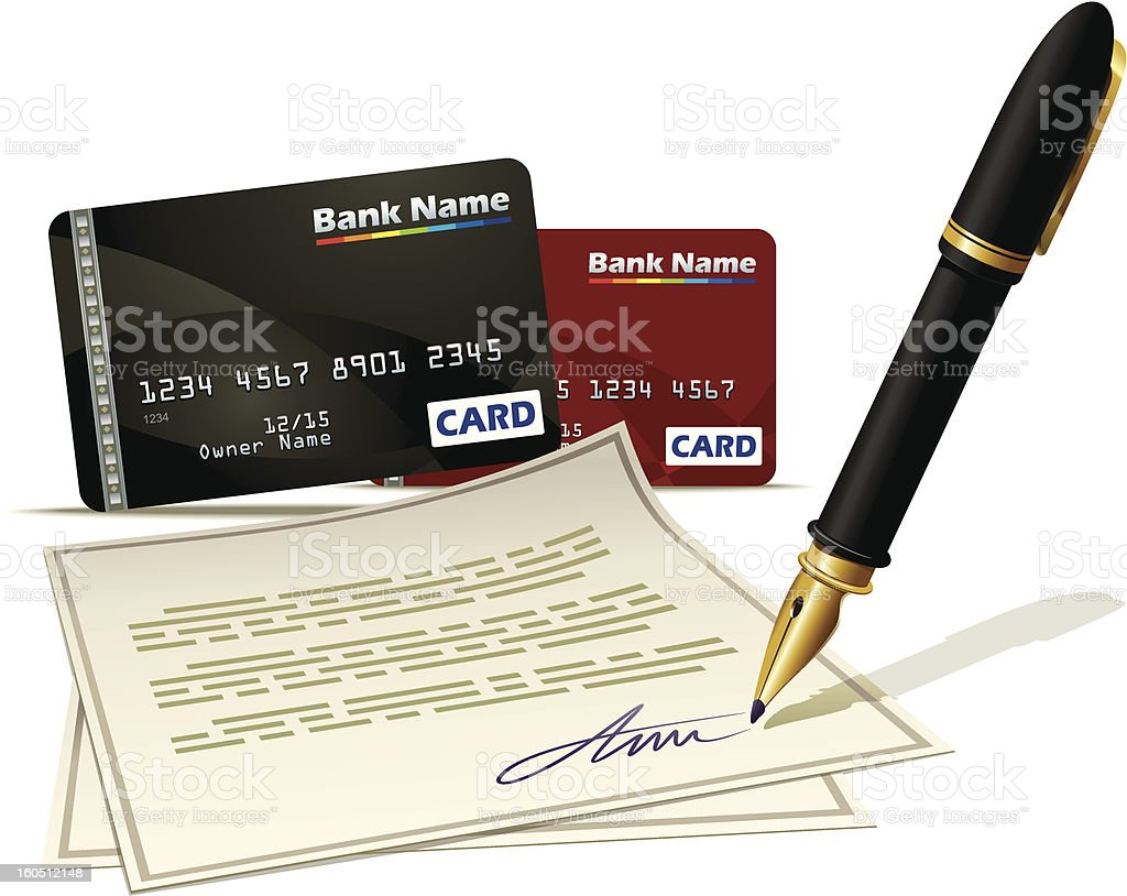 Paperwork for plastic card royalty-free stock vector art