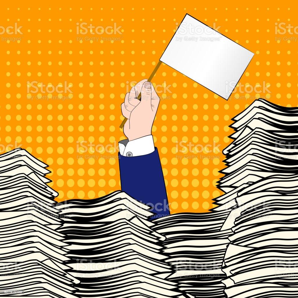 Paperwork. Pop art. Overworked man. Time management. Pile up vector art illustration