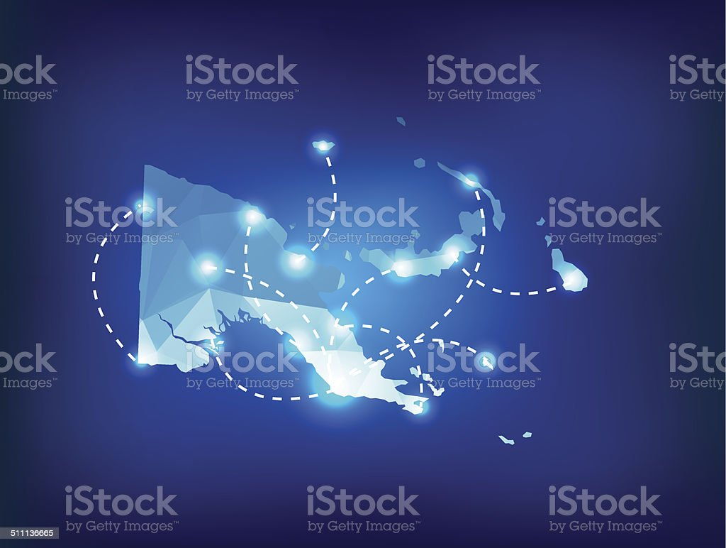 Papua New Guinea country map polygonal with spot lights places vector art illustration