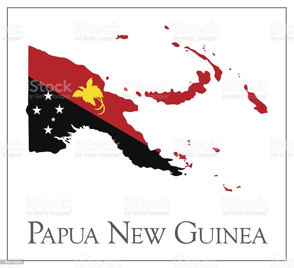 Papua New Guinea flag map vector art illustration