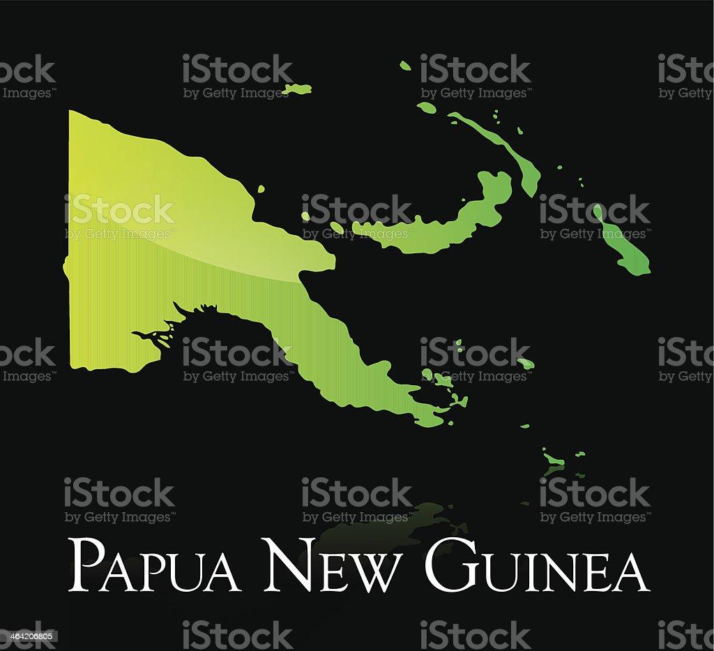 Papua New Guinea green shiny map vector art illustration