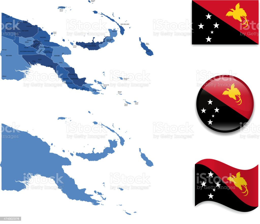 Papua New Guinea Map and Flag Collection vector art illustration