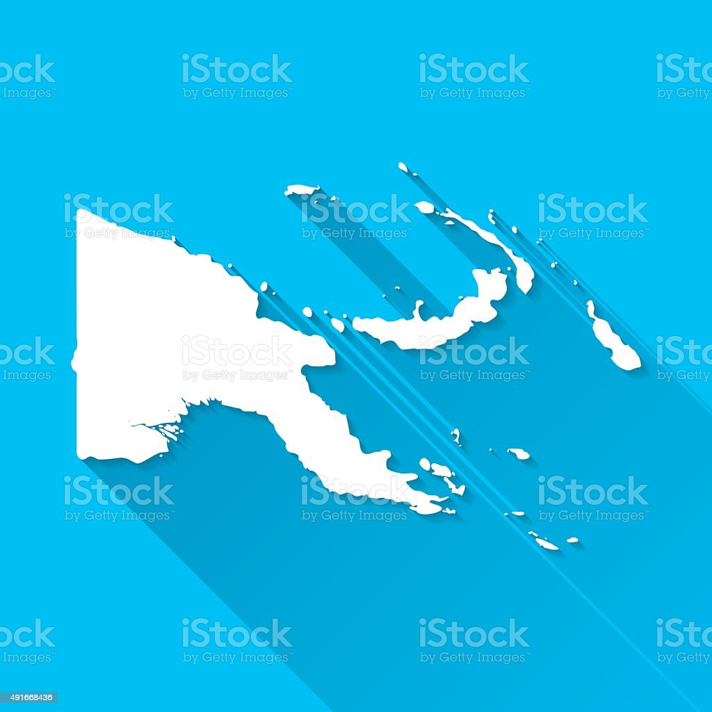 Papua New Guinea Map, Blue Background, Long Shadow, Flat Design vector art illustration