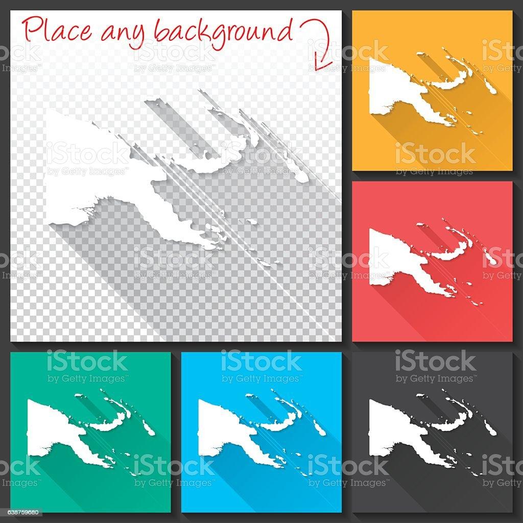 Papua New Guinea Map for design, Long Shadow, Flat Design vector art illustration
