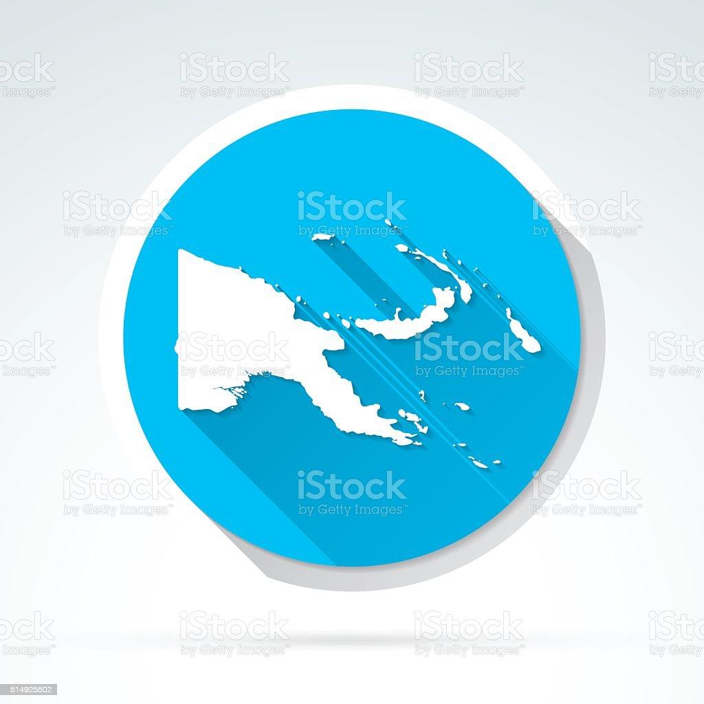Papua New Guinea map icon, Flat Design, Long Shadow vector art illustration