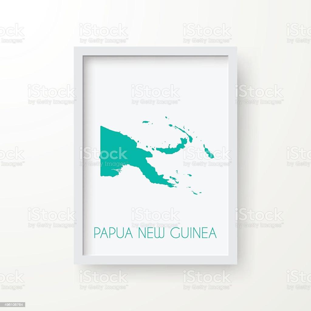 Papua New Guinea Map in Frame on White Background vector art illustration