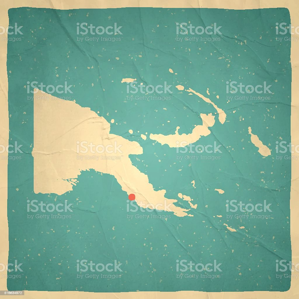 Papua New Guinea Map on old paper - vintage texture vector art illustration