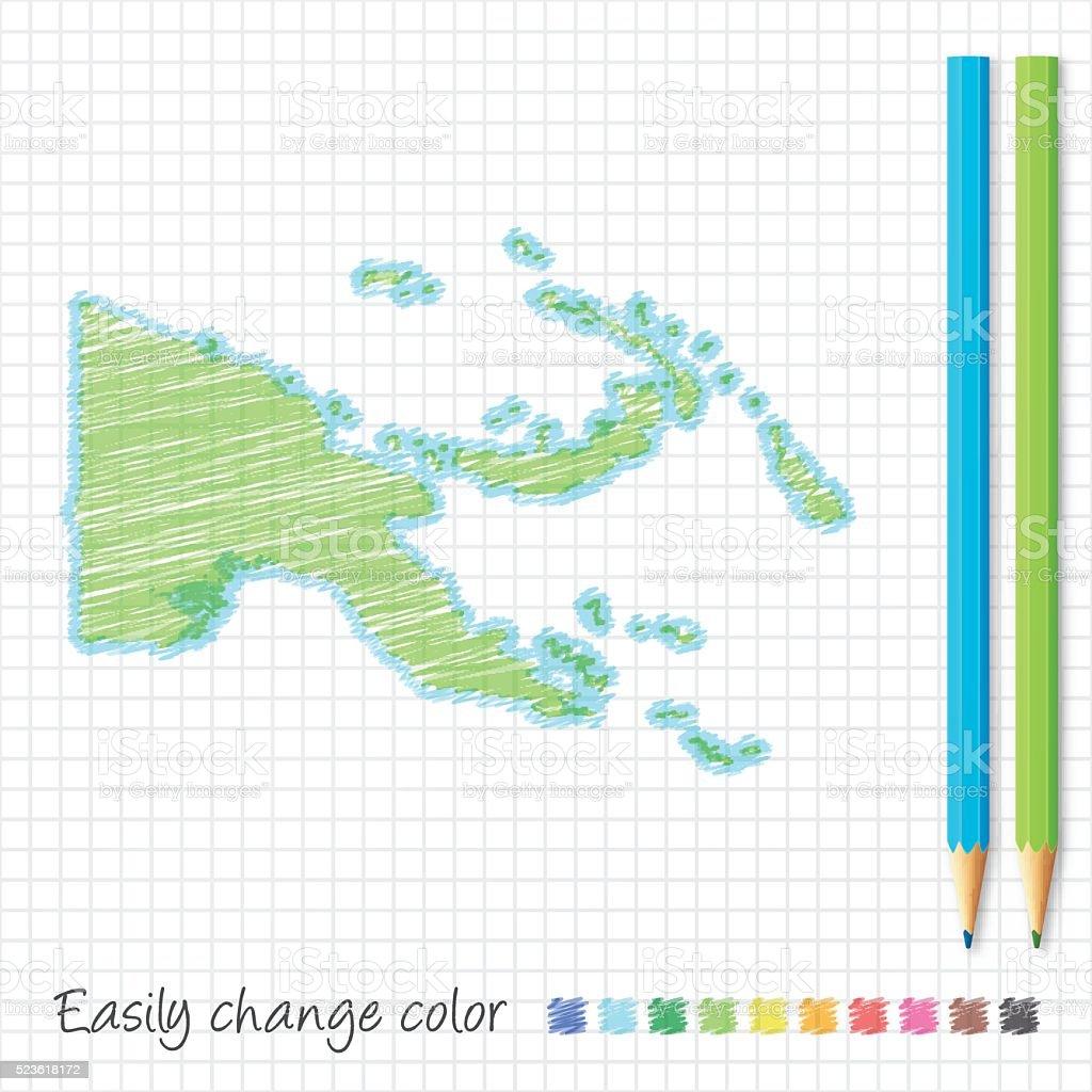 Papua New Guinea map sketch with color pencils, grid paper vector art illustration