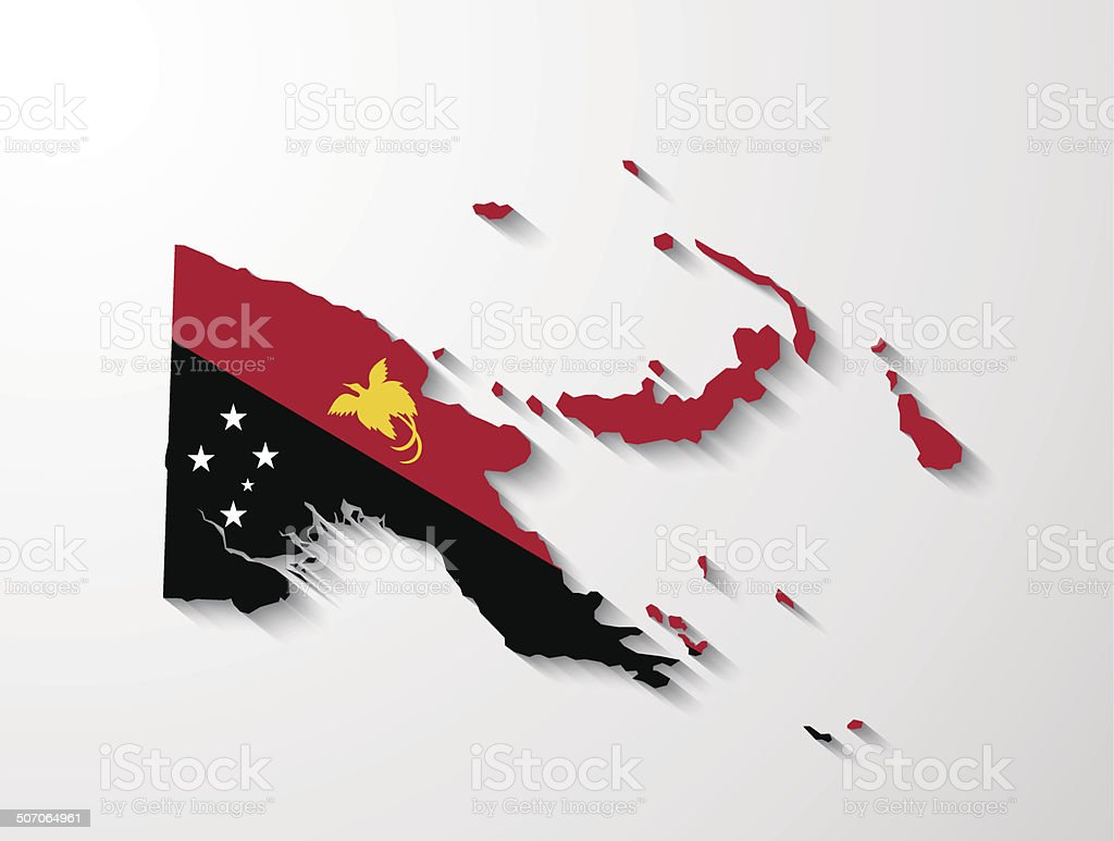 Papua New Guinea map with shadow effect presentation vector art illustration