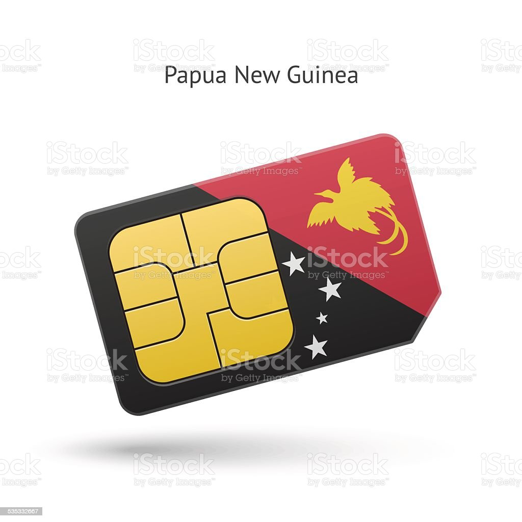 Papua New Guinea mobile phone sim card with flag vector art illustration