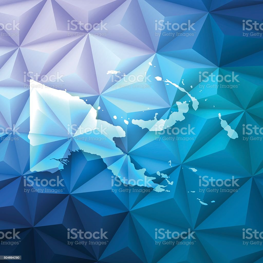 Papua New Guinea on Abstract Polygonal Background, Low Poly, Geometric vector art illustration