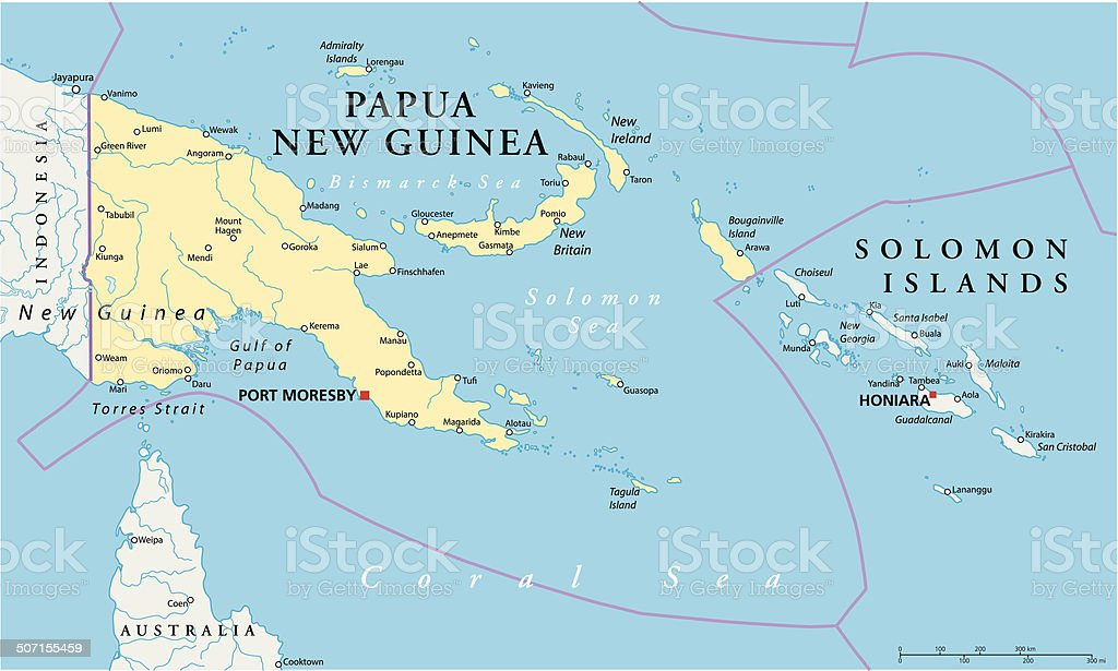 Papua New Guinea Political Map royalty-free stock vector art