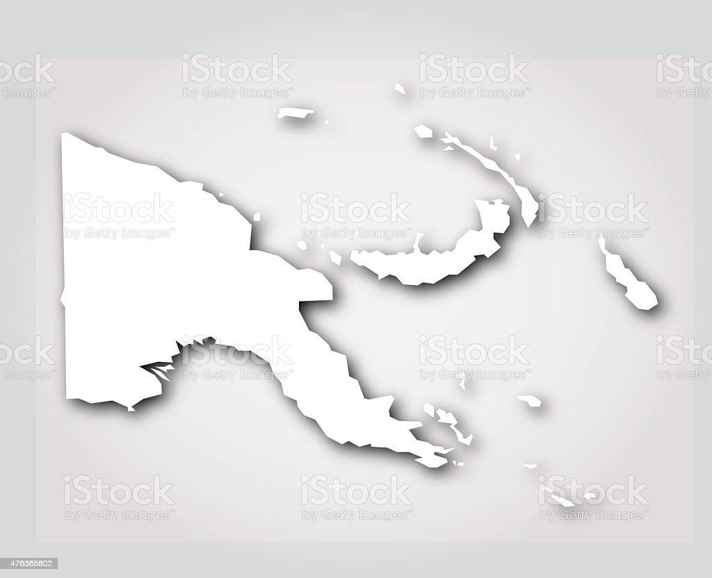 Papua New Guinea Silhouette White vector art illustration