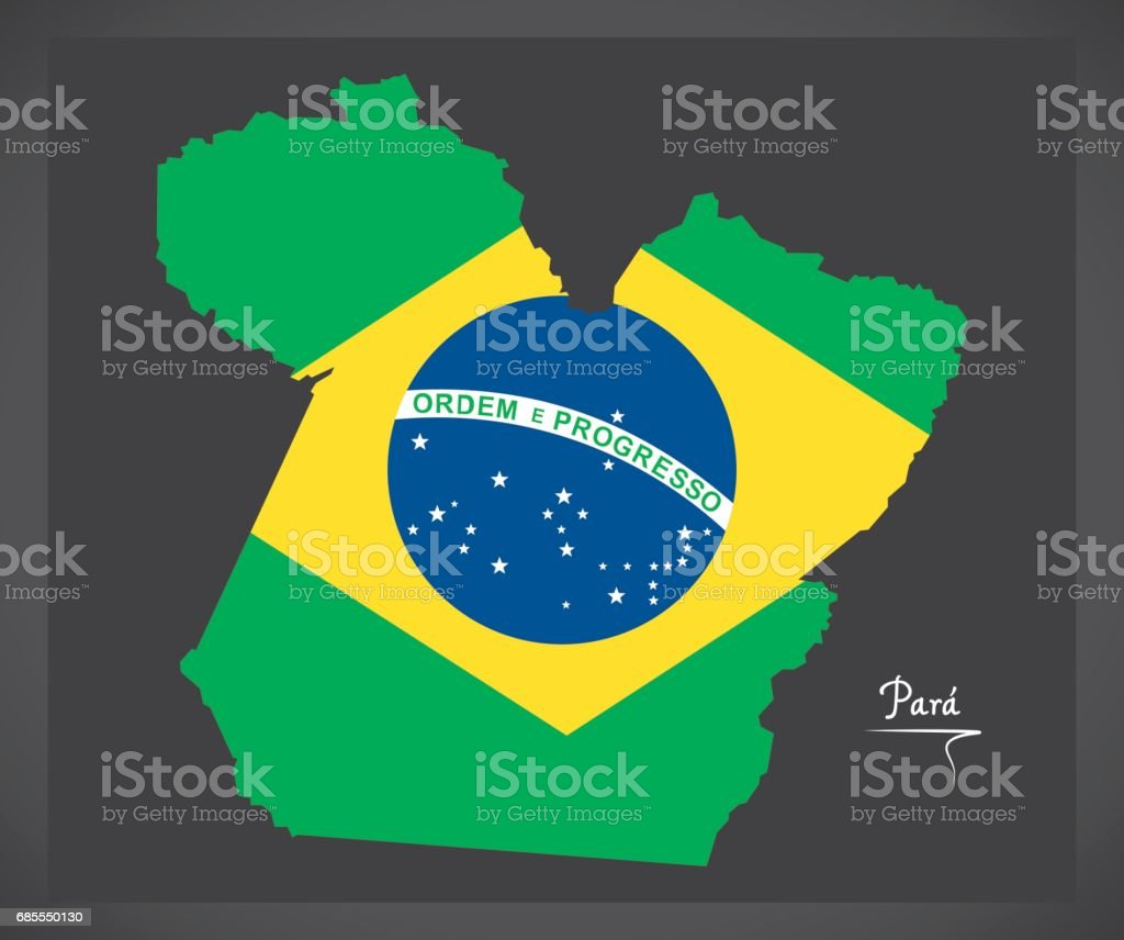 Para map with Brazilian national flag illustration vector art illustration