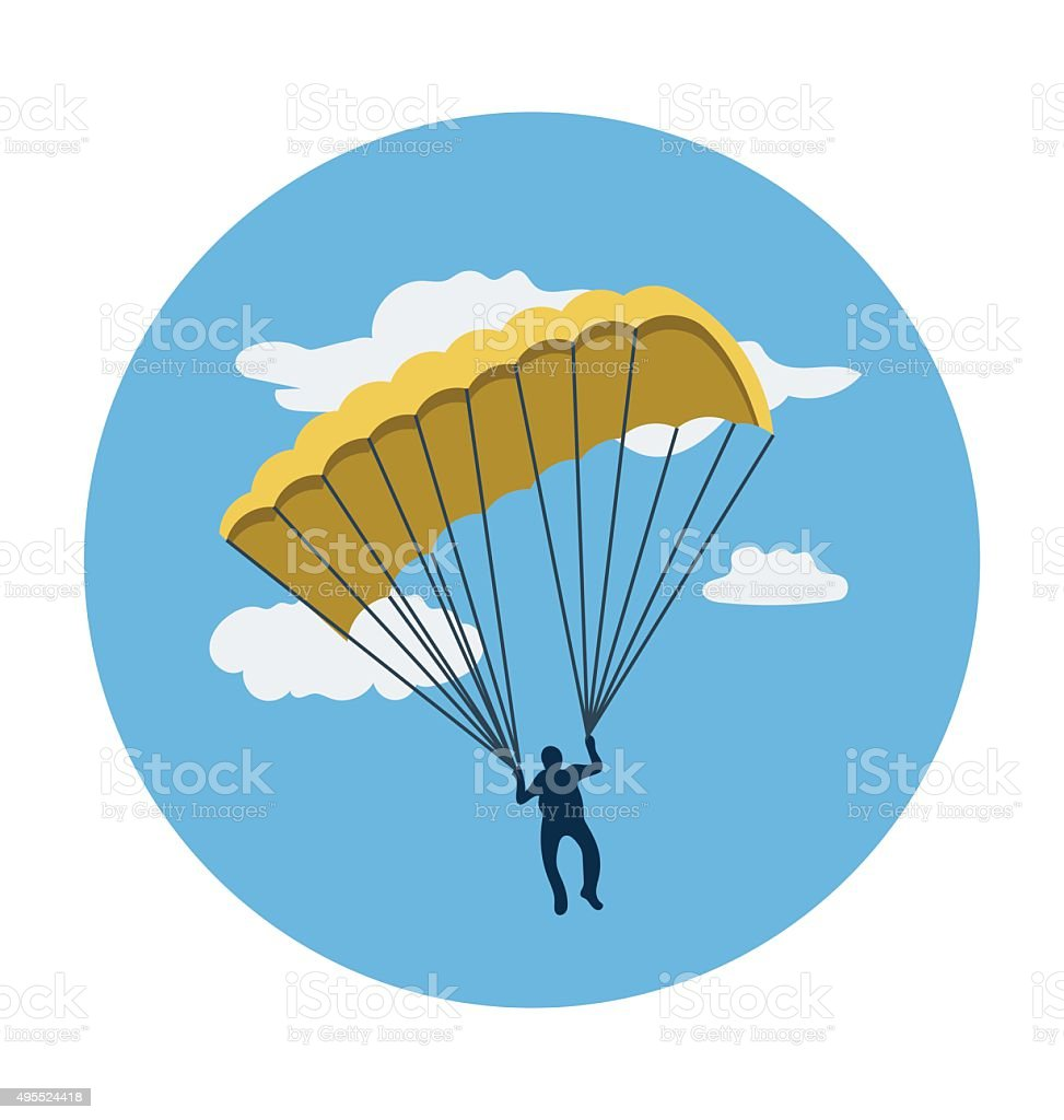 Parachute Colored Vector Icon vector art illustration