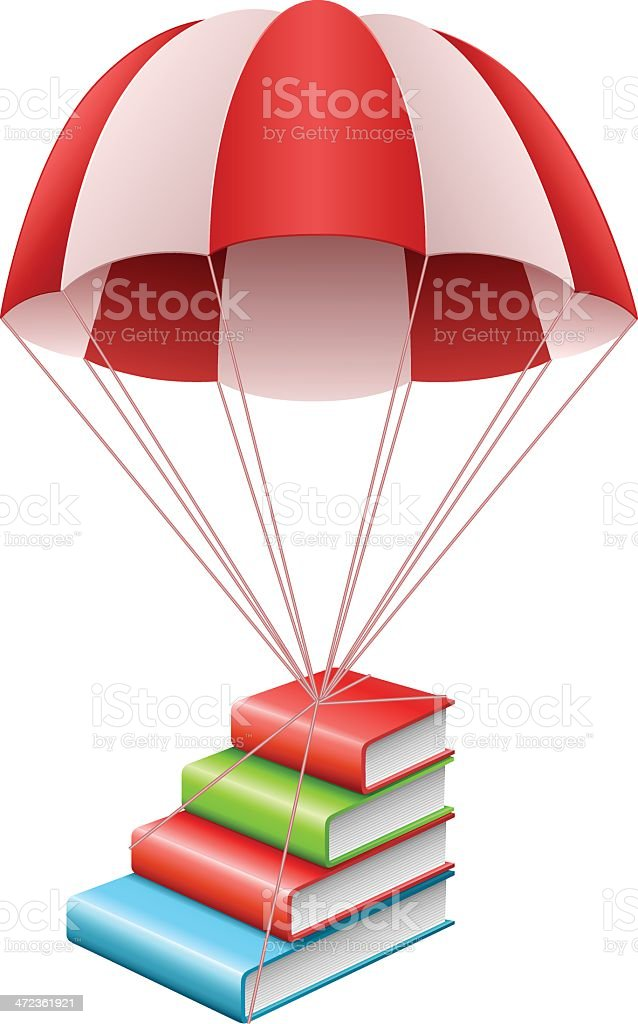Parachute with books royalty-free stock vector art