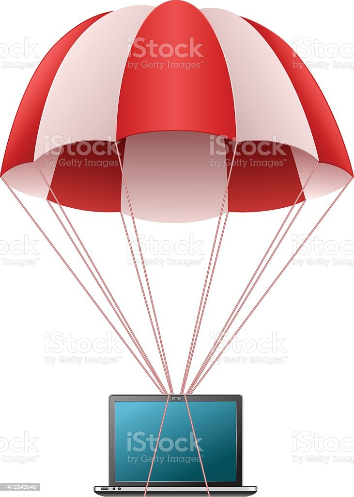 Parachute with laptop royalty-free stock vector art