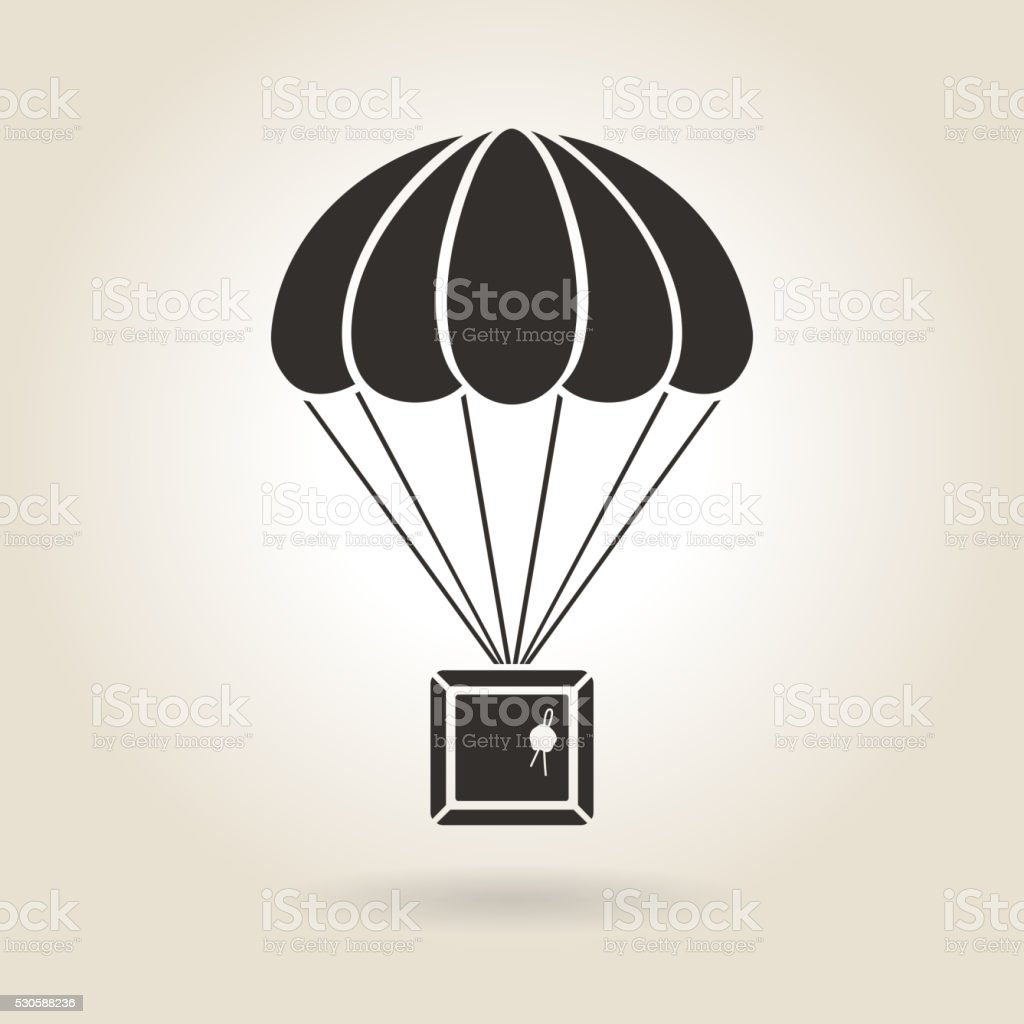 Parachute with the Parcel Icon vector art illustration
