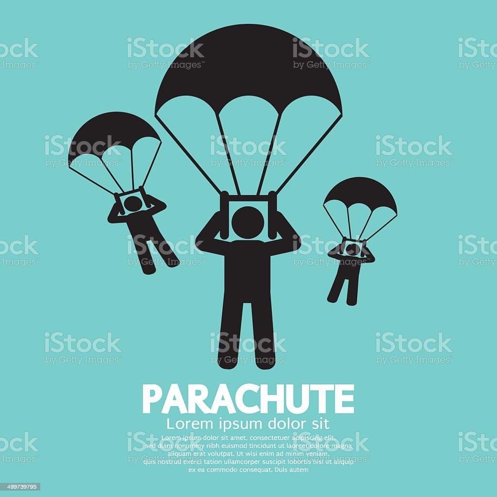 Parachutes Skydiving Sign vector art illustration