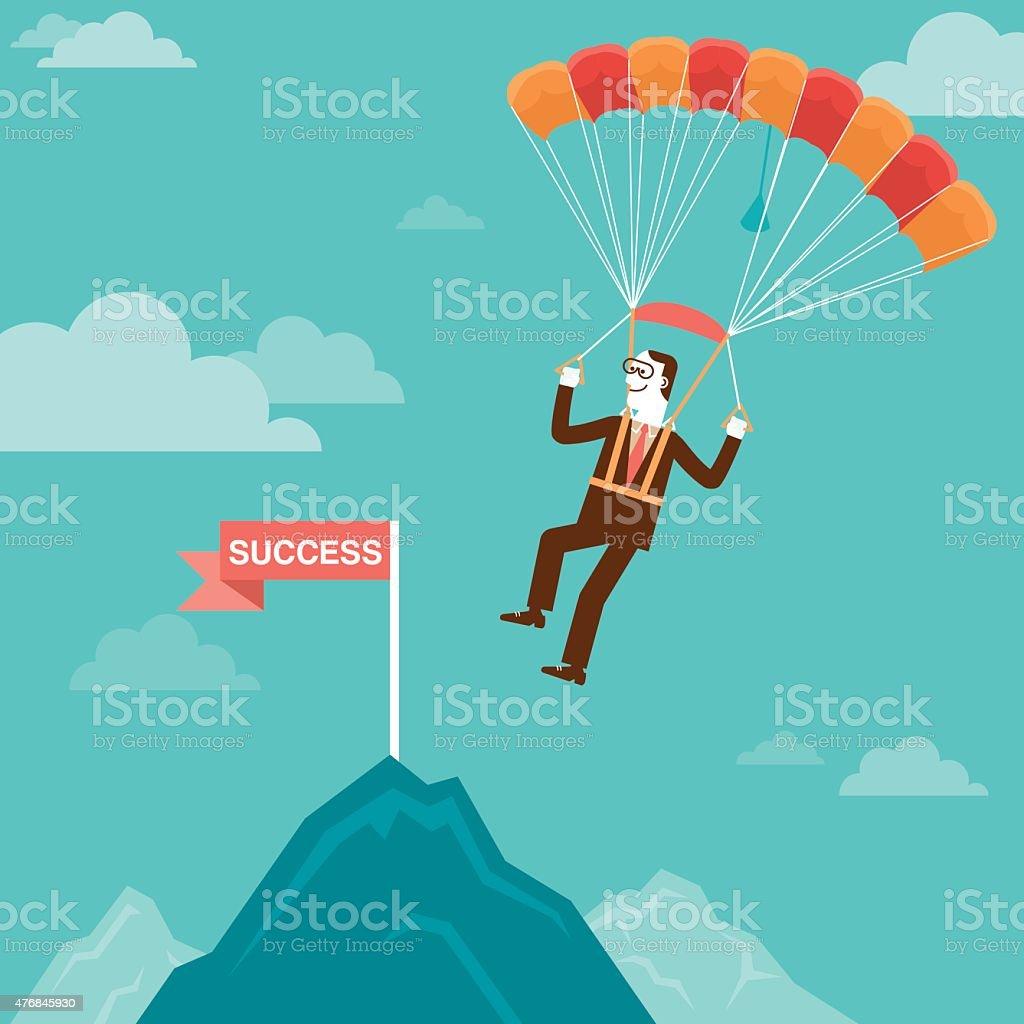 Parachuting Businessman Landing on Mountain Peak   New Business Concept vector art illustration