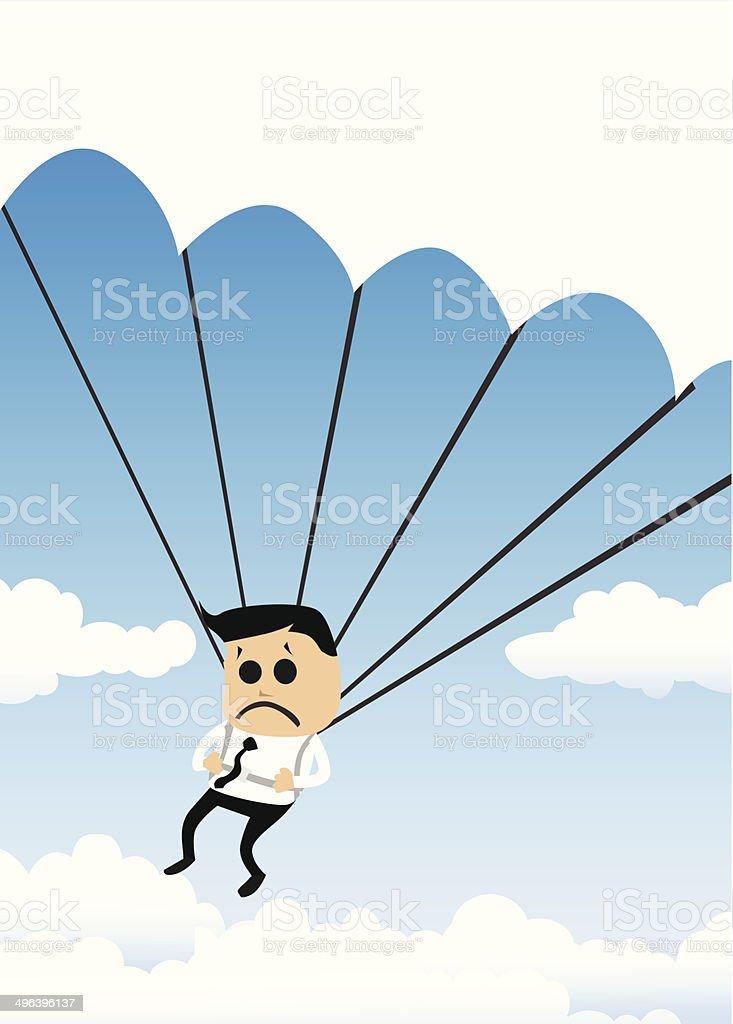 Parachutisme Homme d'affaires stock vecteur libres de droits libre de droits