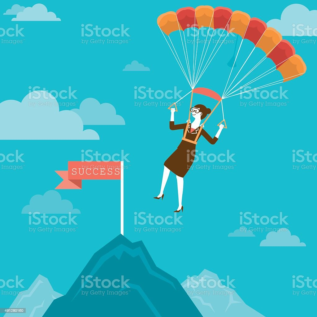 Parachuting Businesswoman Landing on Mountain Peak | New Biz Concept vector art illustration