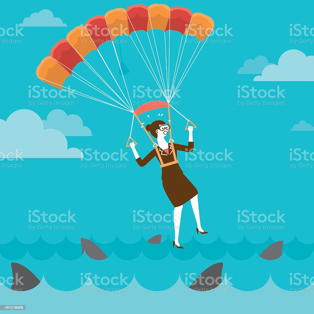 Parachuting Businesswoman On Shark Infested Water | New Business vector art illustration