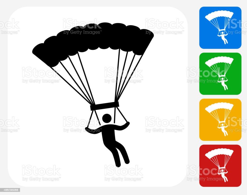 Parachuting Icon Flat Graphic Design vector art illustration
