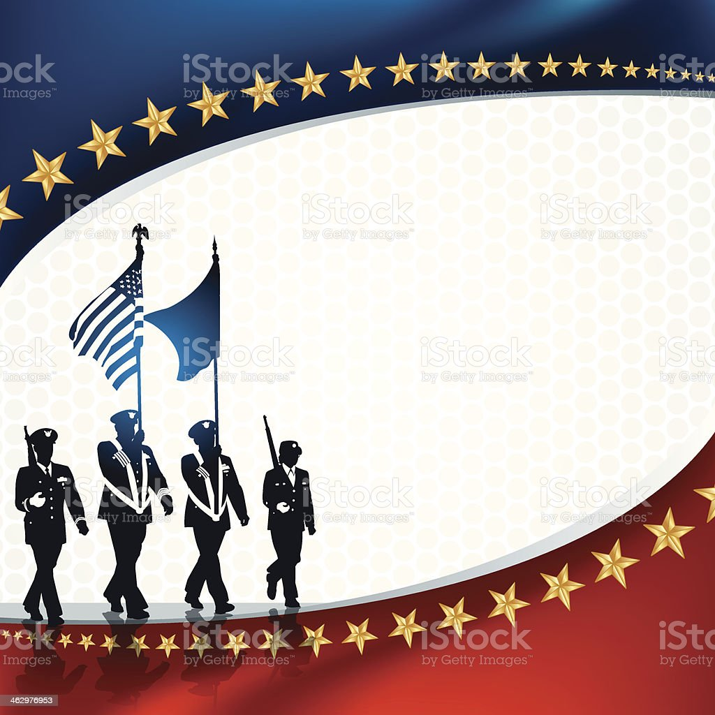 Parade Soldiers with Patriotic Background vector art illustration