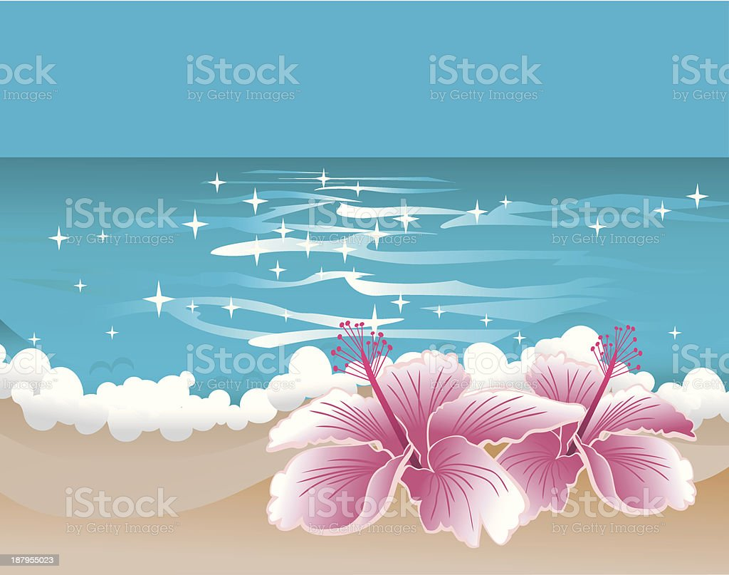 Paradise background with hibiscus and sweet ocean royalty-free stock vector art