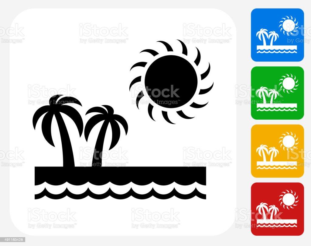 Paradise Icon Flat Graphic Design vector art illustration