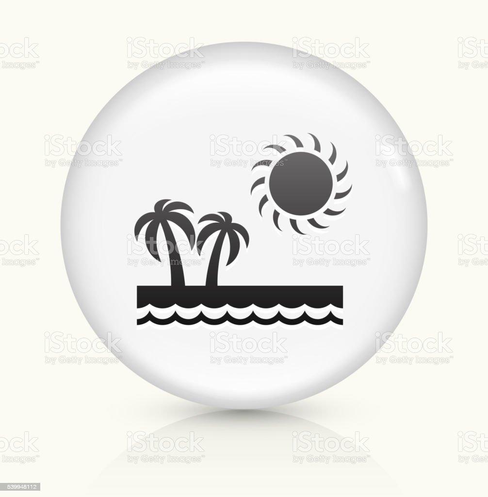Paradise icon on white round vector button vector art illustration