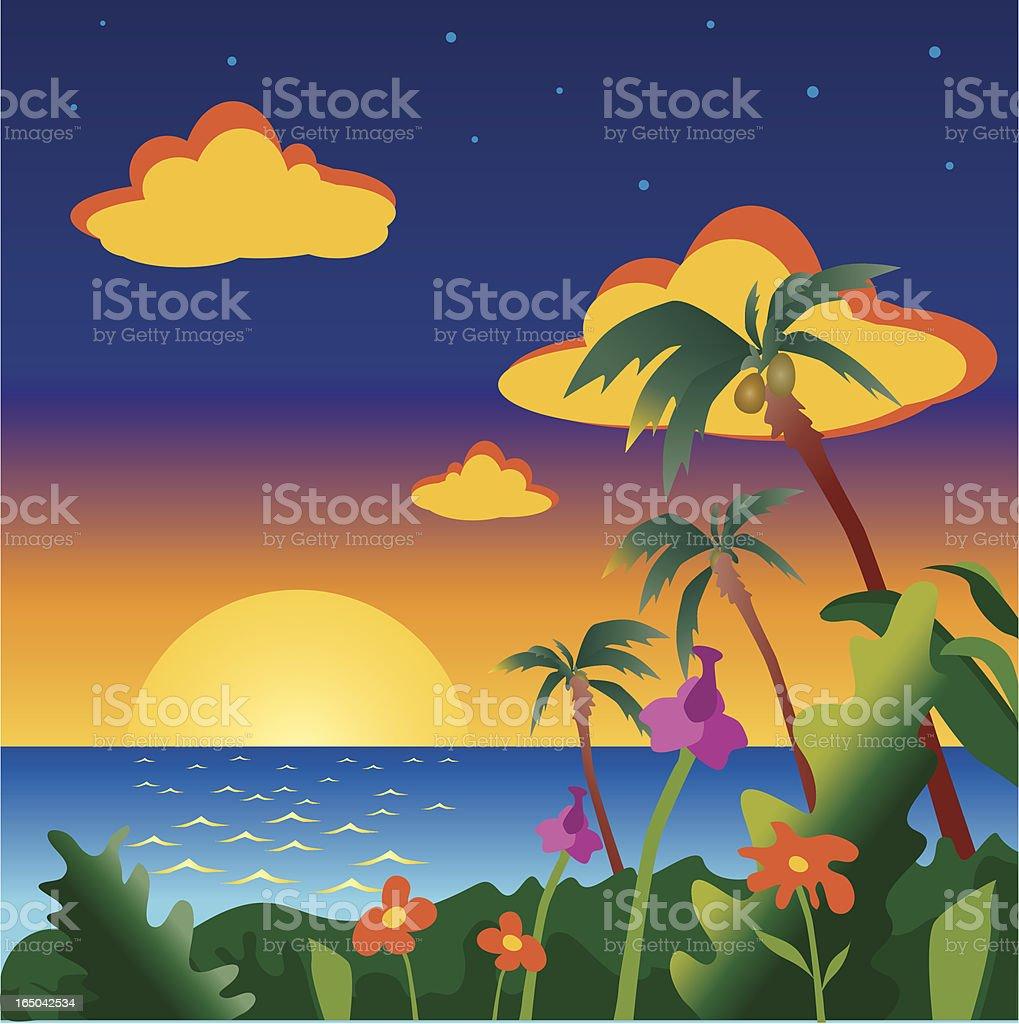 paradise island sunset royalty-free stock vector art