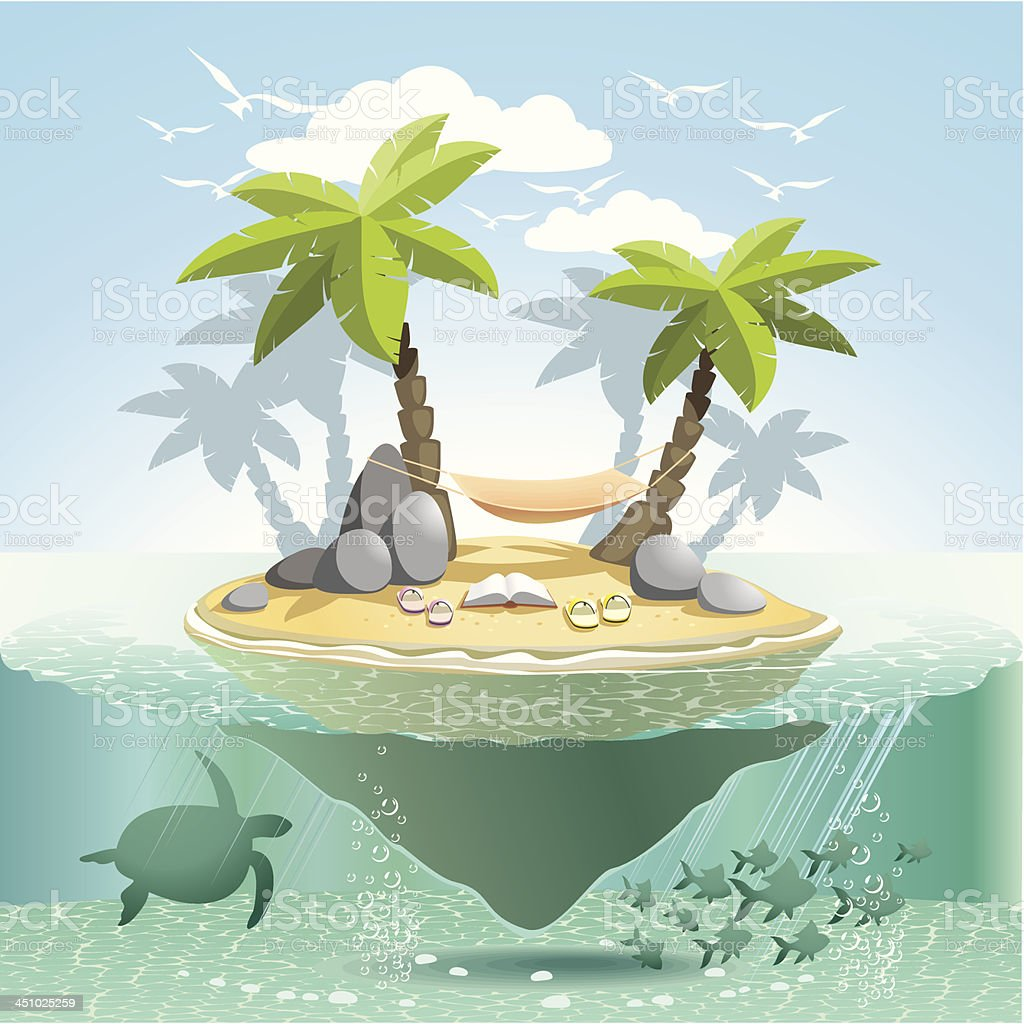 Paradise island vector art illustration