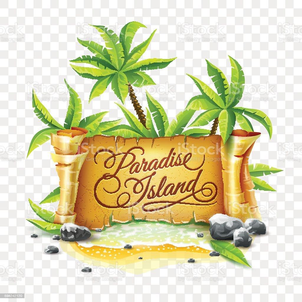 Paradise Island with ancient parchment script banner vector art illustration