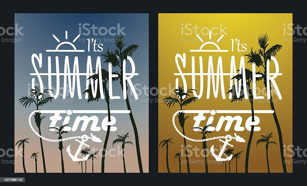 Paradise Island-Palm Tree Sunset. summer poster set vector art illustration