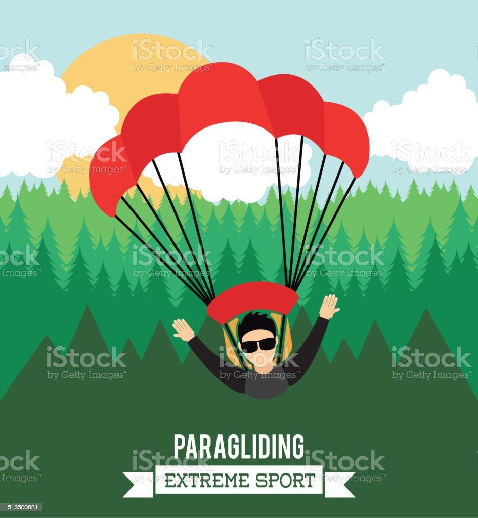 paragliding vector art illustration