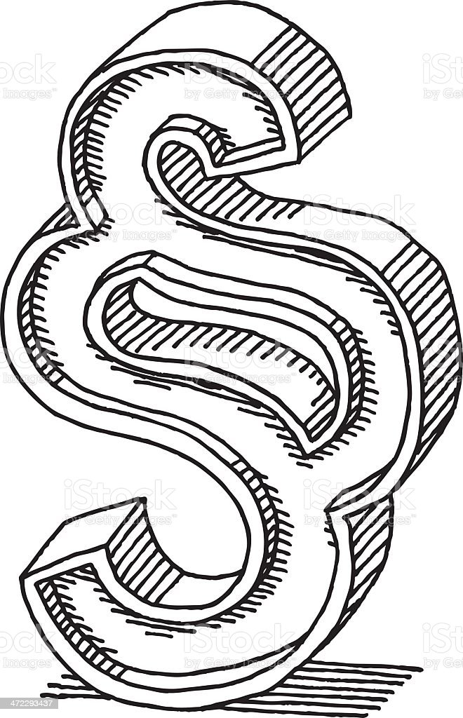 Paragraph Symbol Drawing royalty-free stock vector art
